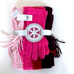 New York & Company Pink Stripe Scarf and Mittens